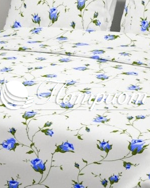 КПБ 1.5 спальный Чайная роза, голубой, набивная бязь 125 гм2 117-2