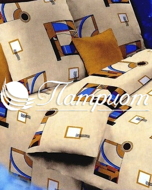 КПБ 1.5 спальный Графика, бежевый, набивная бязь 125 гм2 751-1